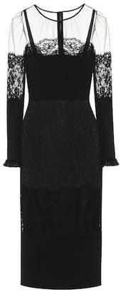 Dolce & Gabbana Lace-trimmed stretch cady dress