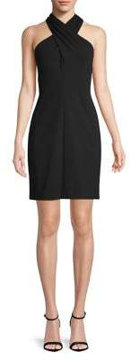 Eliza J Cross-Front Halter Sheath Dress
