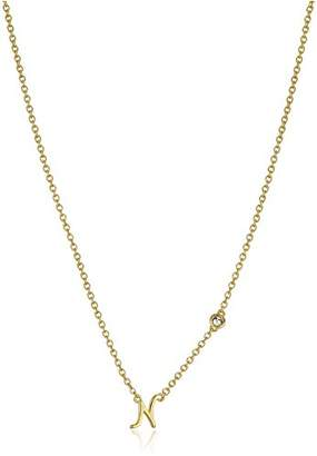 """Shy by SE""""N"""" Initial Necklace with Diamond Bezel"""