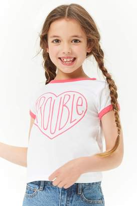 Forever 21 Girls Trouble Graphic Tee (Kids)