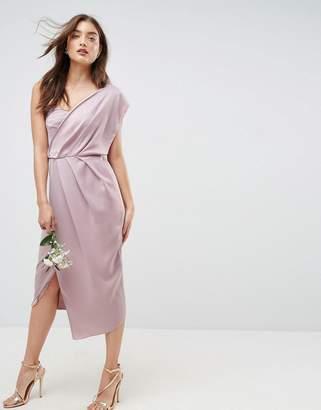 Asos DESIGN Bridesmaid one shoulder soft midi pencil dress