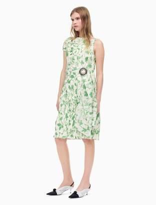 Calvin Klein Crushed Printed Silk Couture Inspired Dress In Acid Leaves Taffeta