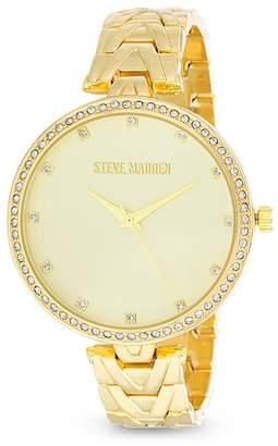 Steve Madden Women's White Jewel Chevron Design Band Watch, 38mm