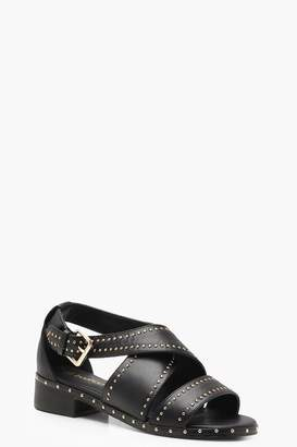 boohoo Saskia Studded Cross Strap Sandals