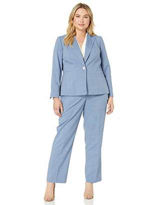 Le Suit Women's 1 Button Notch Collar Textured Weave Pant Suit