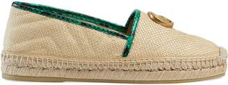 Gucci Online Exclusive chevron raffia espadrille with Double G
