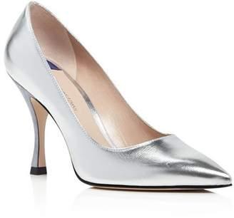 Stuart Weitzman Women's Tippi 95 Pointed Toe Leather High-Heel Pumps