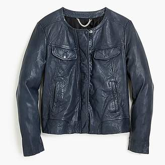J.Crew Collarless washed leather jacket