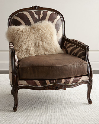 Massoud Titus Zebra-Print Bergere Chair