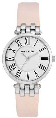 Anne Klein Silvertone Leather Strap Watch