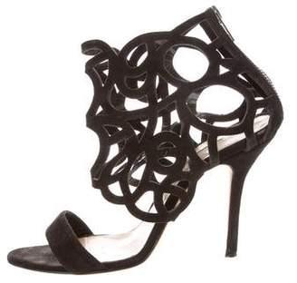 Oscar de la Renta Suede Caged Sandals