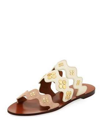 Chloé Lauren Studded Three-Band Flat Slide Sandal