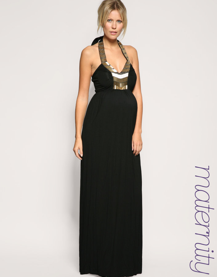 ASOS MATERNITY Embellished Front Maxi Dress