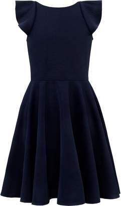 David Charles Flutter Sleeve Ruffle Dress