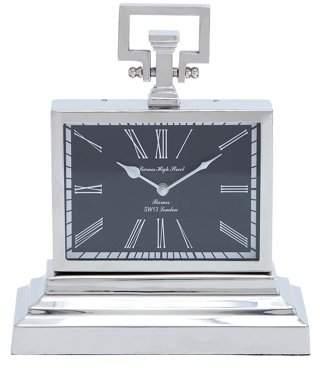 Benzara Nickel Plated Table Clock With Three Tier Base