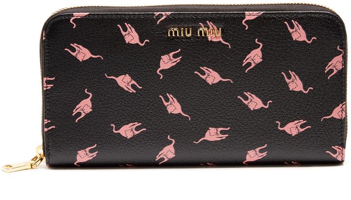 Miu MiuMIU MIU Cat-print leather continental wallet