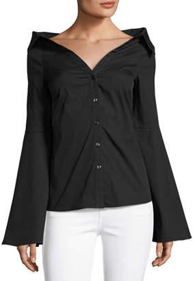 Caroline Constas Persephone Decollete Shirt, Black