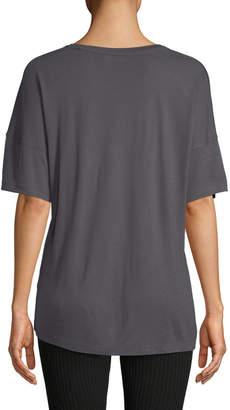 Vince Short-Sleeve Drop-Shoulder V-Neck Tee