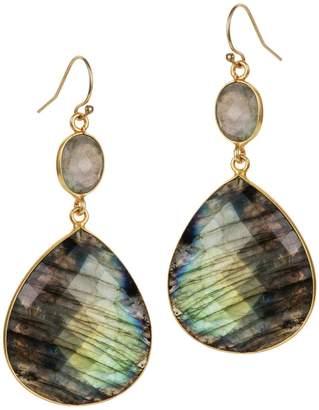 Amadeus Luna Labradorite Large Gold Pendant Earrings