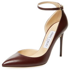Jimmy Choo Lucy 100mm Leather Ankle-Wrap D'Orsay Pump