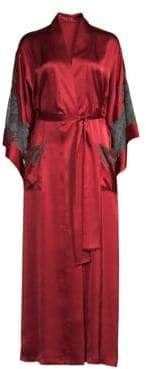Natori Josie Long Lace Trim Robe