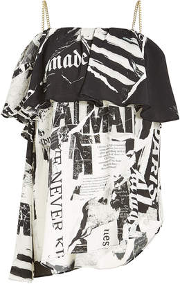 Balmain Printed Silk Top with Chain Shoulder Straps
