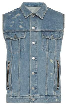 Balmain Distressed Sleeveless Denim Jacket - Mens - Blue