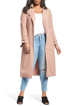 Plus Size Women's Elvi Belted Long Trench Coat $239 thestylecure.com