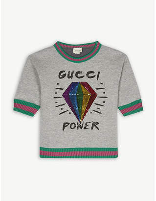 Gucci Sequinned diamond cotton jumper 6-12 years