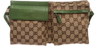 Gucci Flap Waist Bag GG Monogram Adjustable Belt Strap Brown/Green/Beige