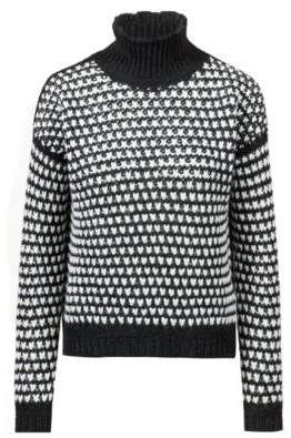 HUGO Boss Oversized-fit cropped sweater in a two-tone knit M Patterned