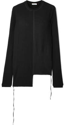 Helmut Lang Asymmetric Ribbed Cotton-jersey Top - Black