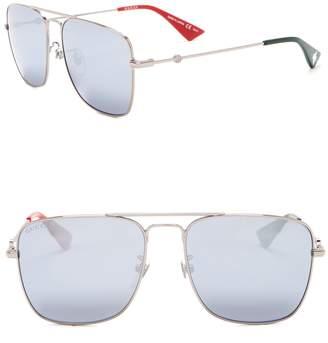 Gucci Square Aviator 55mm Sunglasses
