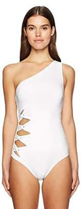 Carmen Marc Valvo Women's Shoulder One Piece Swimsuit with Side Twist Detail