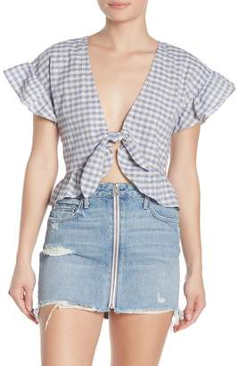 Tularosa Winnie Gingham Plaid Print Blouse