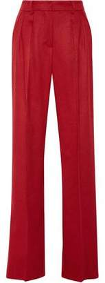 Max Mara Leather-Trimmed Camel Hair Wide-Leg Pants