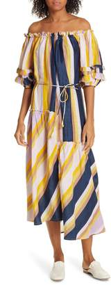 Apiece Apart Sandrine Cotton & Silk Off the Shoulder Dress