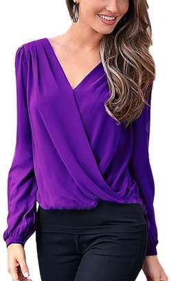 Vemubapis Women Elegant Long Sleeve Deep V Neck Hollow Out Lace Patchwork OL Wrap Shirt XL
