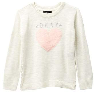 DKNY Side Lace-Up Crew Neck Sweater (Toddler Girls)