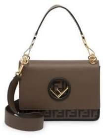 Fendi FF Kan I Leather Top Handle Shoulder Bag
