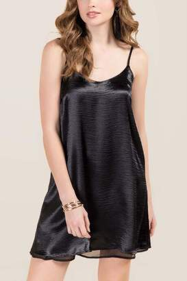 Miami Zelda Hammered Satin Slip Dress - Black