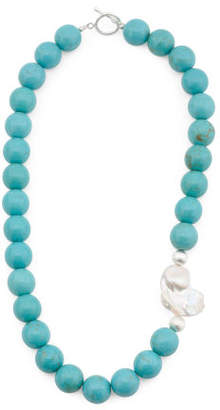 Handmade In Usa Sterling Silver Blue Howlite & Pearl Necklace