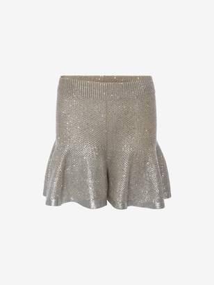 Alexander McQueen Metallic Foil Knit Shorts