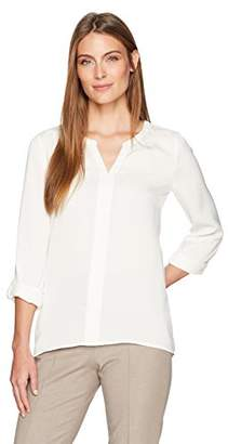 Lark & Ro Women's 3/4 Sleeve Pullover Blouse with Roll Tabs
