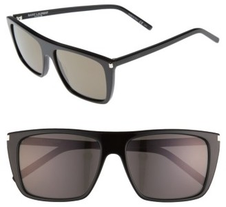 Women's Saint Laurent Avana 56Mm Flat Top Sunglasses - Black $380 thestylecure.com