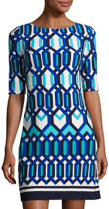 Eliza J Half-Sleeve Geometric-Print Shift Dress, Blue Pattern $80 thestylecure.com