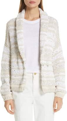 Brunello Cucinelli Sequin Stripe Cotton Blend Cardigan