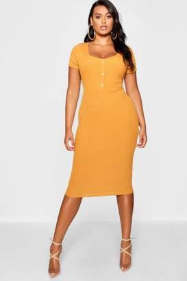 boohoo Plus Rib Button Detail Short Sleeve Midi Dress
