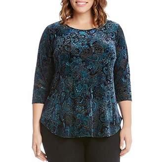 Karen Kane Women's Plus Size 3/4 Sleeve Velvet Burnout Top
