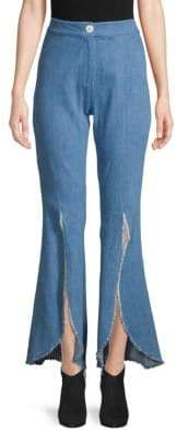 Petersyn Malibu Slit-Front Raw-Edge Flare Jeans